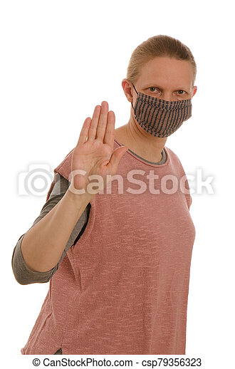 woman with mouth protection and mask - csp79356323