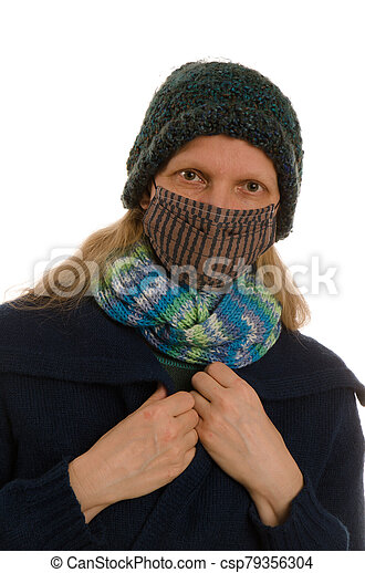 woman with mouth protection and mask - csp79356304