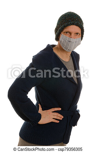woman with mouth protection and mask - csp79356305
