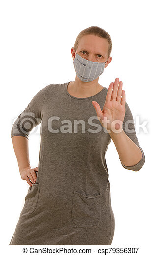 woman with mouth protection and mask - csp79356307