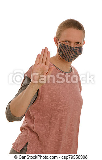 woman with mouth protection and mask - csp79356308