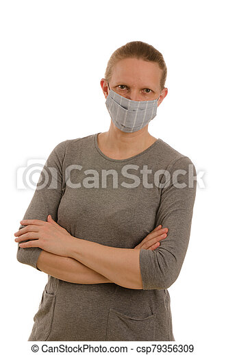 woman with mouth protection and mask - csp79356309