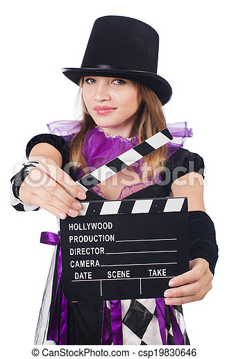Woman with movie board isolated on white - csp19830646