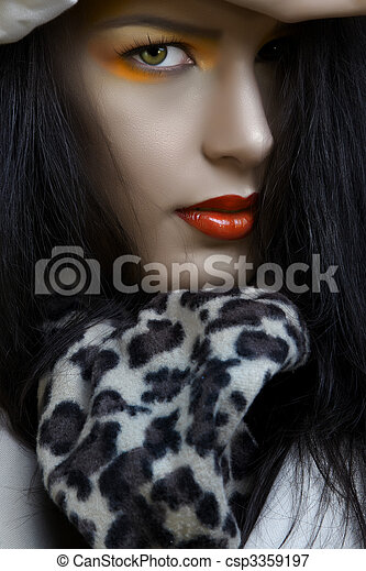 woman with orange make-up - csp3359197