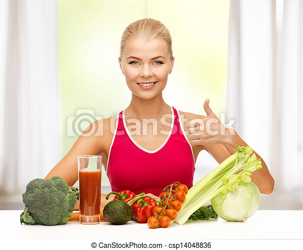 woman with organic food - csp14048836