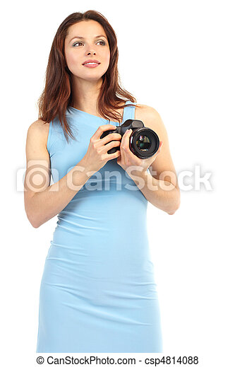 woman with photo camera - csp4814088