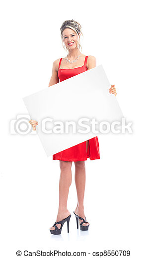 Woman with placard. - csp8550709