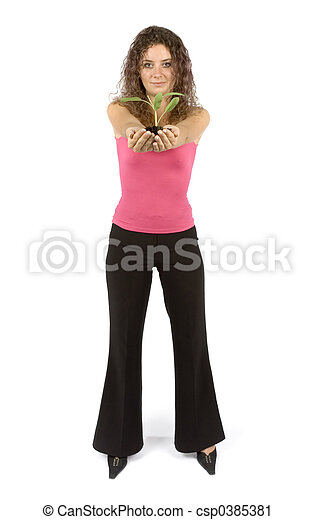 woman with plant - csp0385381