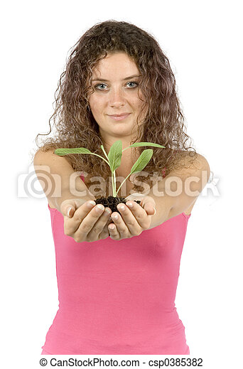 woman with plant - csp0385382