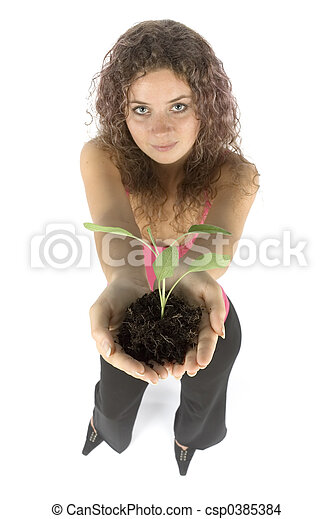 woman with plant - csp0385384