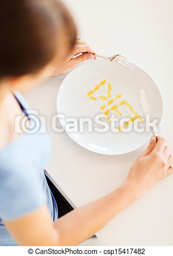woman with plate and meds - csp15417482