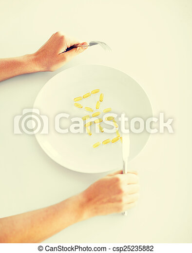 woman with plate and meds - csp25235882
