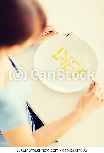 woman with plate and meds - csp25887803