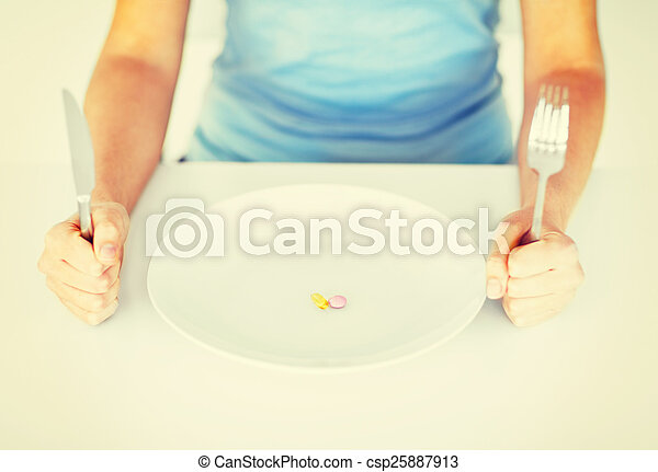 woman with plate and tablets - csp25887913