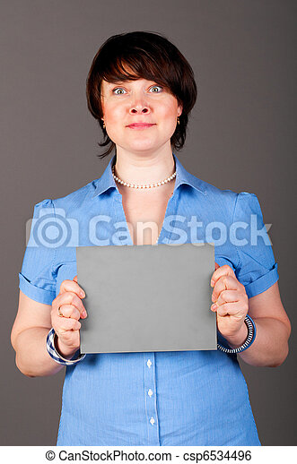 woman with plate - csp6534496