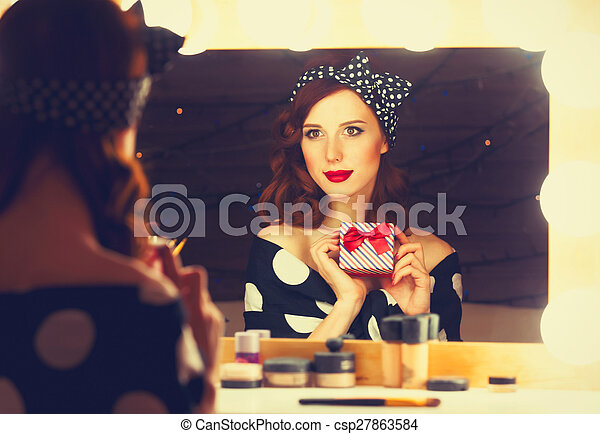 woman with present box - csp27863584