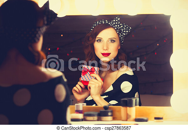woman with present box - csp27863587