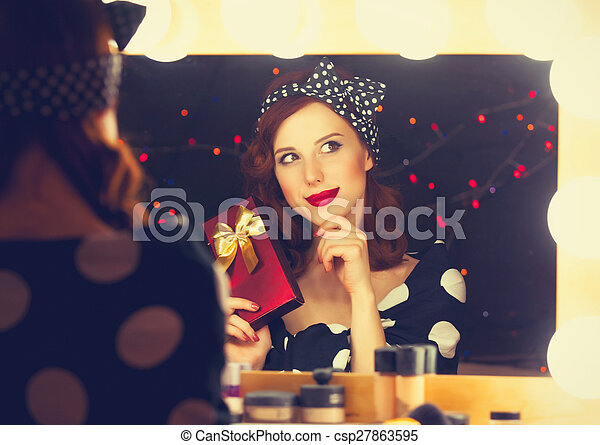 woman with present box - csp27863595