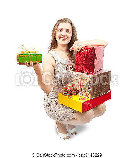 woman with present box - csp3146229