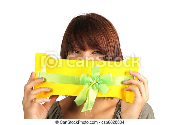woman with present - csp6828804