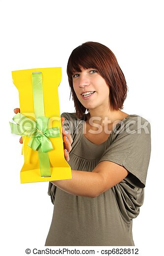 woman with present - csp6828812