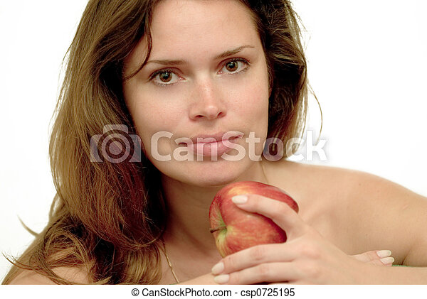 Woman with red apple - csp0725195