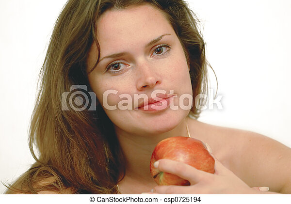 Woman with red apple - csp0725194