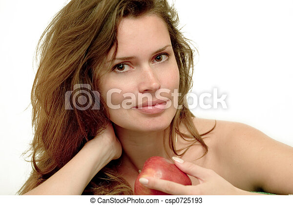 Woman with red apple - csp0725193