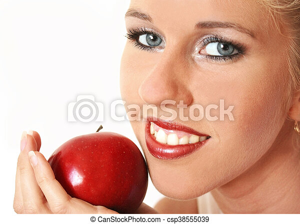 Woman with red apple - csp38555039