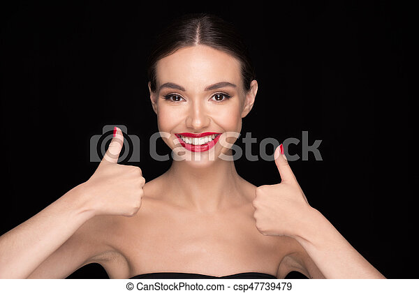 woman with red lips - csp47739479