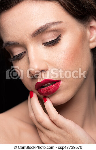 woman with red lips - csp47739570