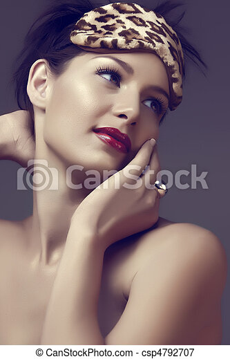 woman with red lips - csp4792707