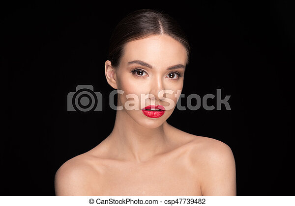 woman with red lips - csp47739482