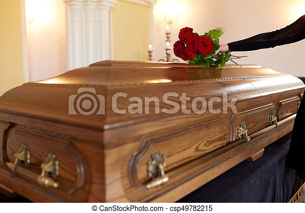 People And Mourning Concept Woman With Red Roses And Coffin At - Casket coffee table