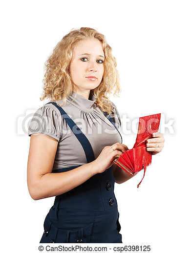 woman with red wallet - csp6398125