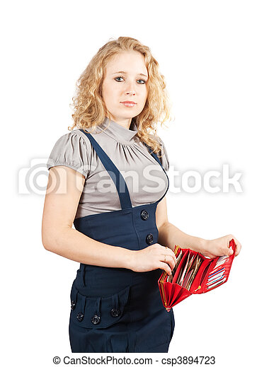 woman with red wallet - csp3894723