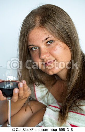 Woman with red wine glass - csp15961318