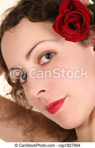 woman with rose in hair - csp1827664