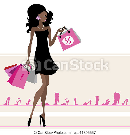 Woman Shopping Clipart Woman with shopping ba...