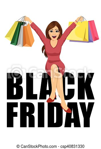 woman with shopping bags sitting big black friday text - csp40831330