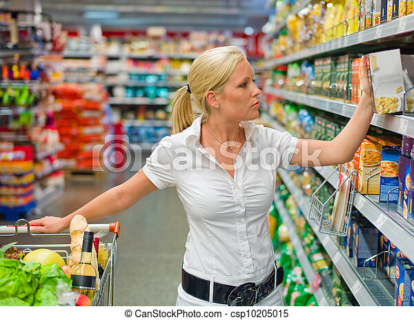 woman with shopping cart in the supermarket - csp10205015