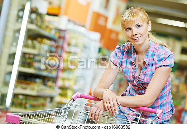 woman with shopping cart - csp16963582