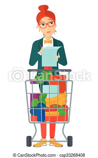 woman with shopping list csp33268408