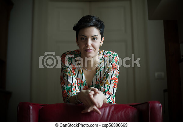 Woman with Short Hair - csp56306663
