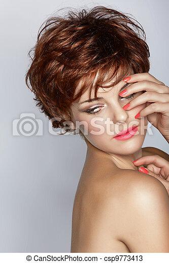 woman with short haircut - csp9773413