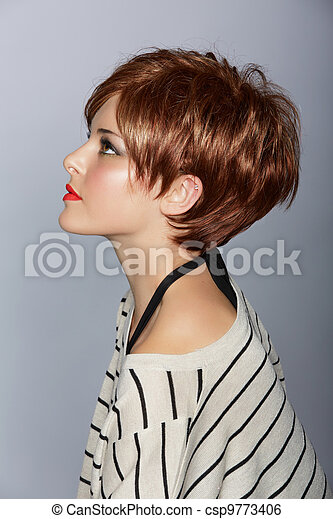 woman with short red hair - csp9773406