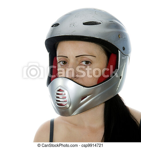 woman with silver motocross helmet - csp9914721