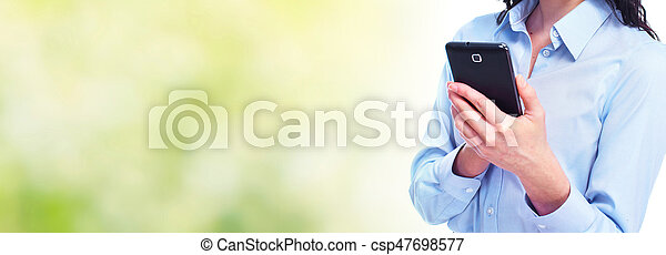 Woman with smartphone - csp47698577