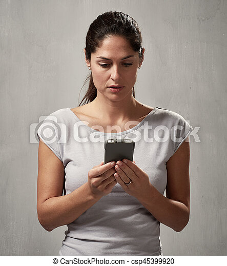 Woman with smartphone - csp45399920