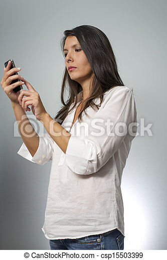 woman with smartphone - csp15503399